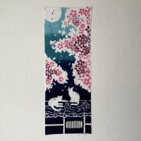 注染手ぬぐい・夜桜猫