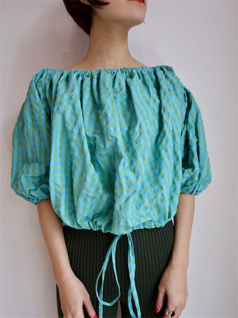 MARQUES ALMEIDA-OFF SHOULDER TOP/TURQUOISE<img class='new_mark_img2' src='//img.shop-pro.jp/img/new/icons10.gif' style='border:none;display:inline;margin:0px;padding:0px;width:auto;' />