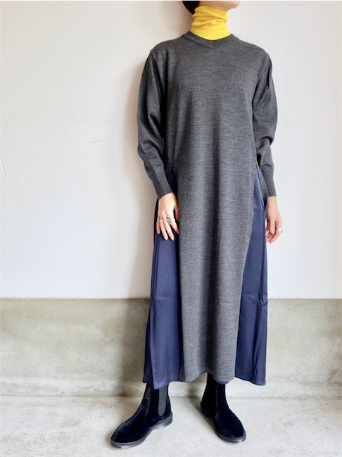 PONTI-LAYERED LONG DRESS/CHARCOAL GREY<img class='new_mark_img2' src='//img.shop-pro.jp/img/new/icons10.gif' style='border:none;display:inline;margin:0px;padding:0px;width:auto;' />