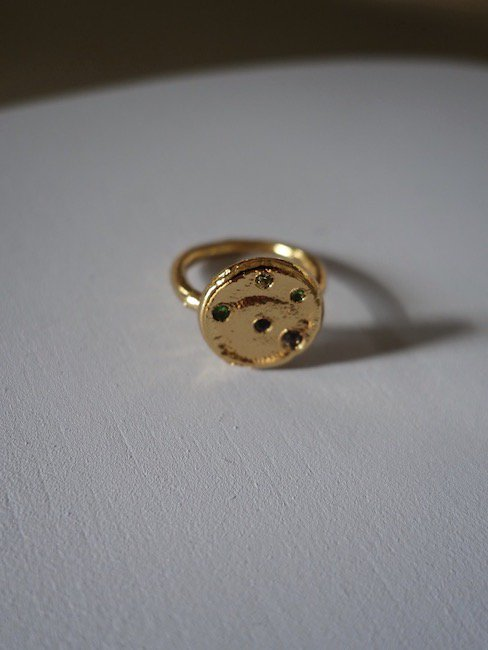 CRISTINA JUNQUERO-MONEDA RING +SETTING STONES /GOLD