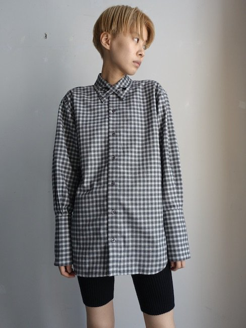 STEFAN COOKE-COTTON SHIRT WITH INFINITY COLLAR DETAIL/BLACK AND WHITE CHECK