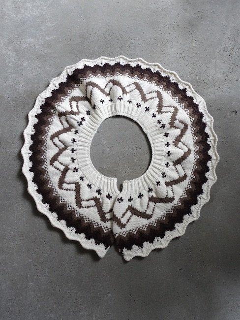 STEFAN COOKE-FAIRAISLE SPIRAL SCARF / CREAM&BROWN