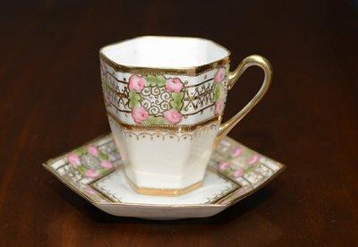 【送料無料】オールドノリタケ/Old Noritake アールデコ/Art Deco 金盛ピンクローズ コーヒーカップ&ソー…