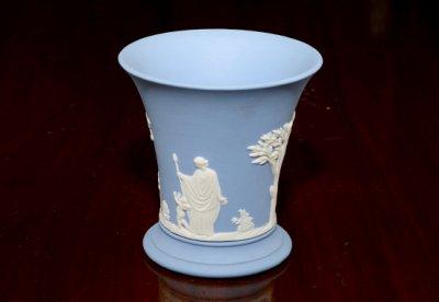 ◇ウェッジウッド/WEDGWOOD ジャスパー/Jasper ペールブルー/Pale Blue ギリシャ神話 フラワーベース(花瓶)の写真No.2