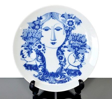 【今だけ価格】ローゼンタール/Rosenthal Bjorn Wiinblad お花を持った女性 絵皿(中)【複数在庫】の写真