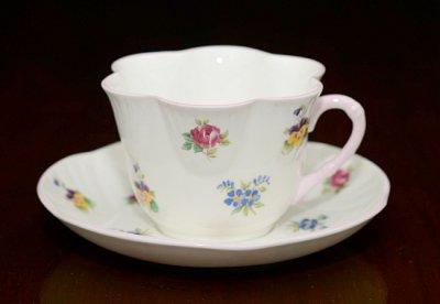 ◇クラウンスタフォードシャー/Crown Staffordshire バラ・パンジー・勿忘草/Rose Pansy Forget-me-not コーヒーカップ&ソーサーの写真