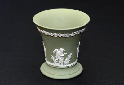 ◇ウェッジウッド/WEDGWOOD ジャスパー/Jasper セージグリーン/Sage Green ギリシャ神話 フラワーベース(花瓶)の写真No.2