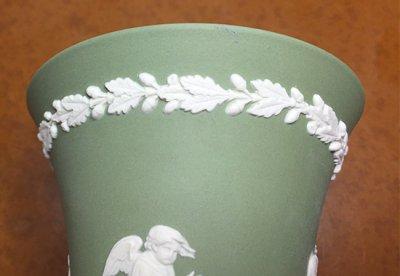 ◇ウェッジウッド/WEDGWOOD ジャスパー/Jasper セージグリーン/Sage Green ギリシャ神話 フラワーベース(花瓶)の写真No.3