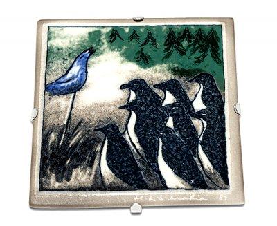 【セール】【送料無料】【美品】アラビア/ARABIA Helja Liukko Sundstrom コンサート/Concert 陶板画 12cm/198…