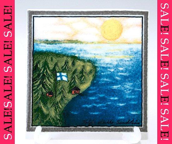 【セール】【送料無料】【美品】アラビア/ARABIA Helja Liukko Sundstrom フィンランド-私の故郷/Finland-My Homeland 陶板画 12cm/199…
