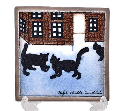 【セール】【送料無料】【美品】アラビア/ARABIA Helja Liukko Sundstrom ネコの村/Village of the Cats 陶板画 12cm/199…