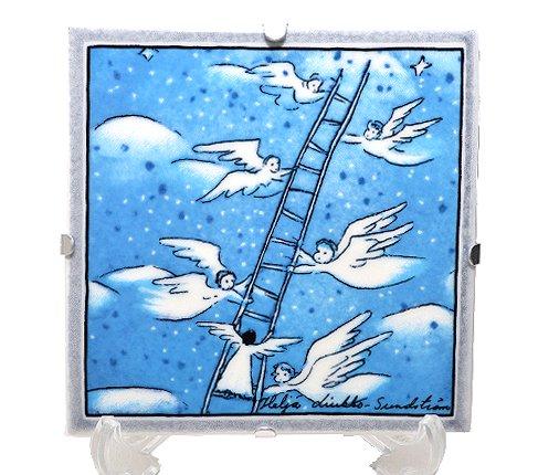 【セール】【送料無料】【美品】アラビア/ARABIA Helja Liukko Sundstrom ハシゴ/Ladders 陶板画 12cm/200…