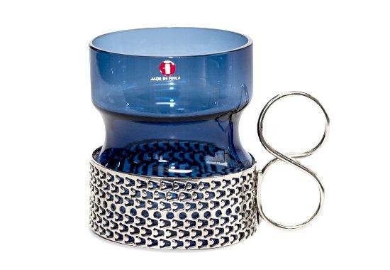 【希少】イッタラ/iittala ツァイッカ/Tsaikka ブルー/Blue ホルダー付グラス 210ml