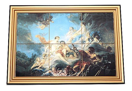 【送料無料】【一点物】フランソワ・ブーシェ/Francois Boucher 陶板画 アイネイアスのために造った武器をウェヌスへ贈るウルカヌスの写真