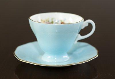 ◇クラウンスタッフォードシャー/Crown Staffordshire フローラル スカイブルー コーヒーカップ&ソーサーの写真