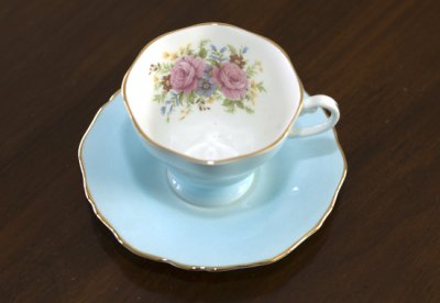 ◇クラウンスタッフォードシャー/Crown Staffordshire フローラル スカイブルー コーヒーカップ&ソーサーの写真No.2