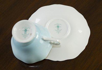 ◇クラウンスタッフォードシャー/Crown Staffordshire フローラル スカイブルー コーヒーカップ&ソーサーの写真No.6