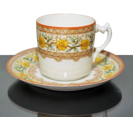 【セール】【送料無料】old エインズレイ/Aynsley 1870-80年代 ハンドペイント イエローフラワー コーヒーカップ&ソー…