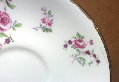 ◇クラウンスタッフォードシャー/Crown Staffordshire ピンクローズ/Pink Rose コーヒーカップ&ソーサー&プレート 3点セット(トリオ)の写真No.6