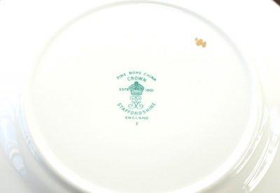 ◇クラウンスタッフォードシャー/Crown Staffordshire ピンクローズ/Pink Rose コーヒーカップ&ソーサー&プレート 3点セット(トリオ)の写真No.8
