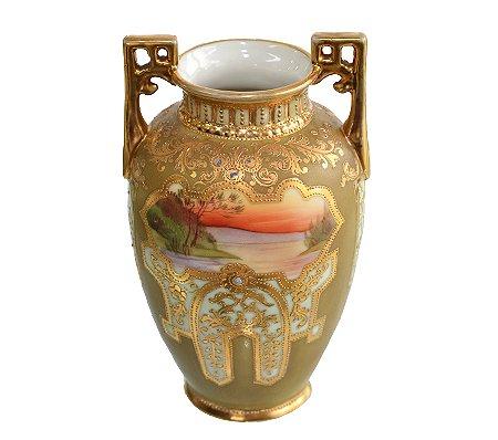 【送料無料】オールドノリタケ/old Noritake 17cm マルキ印 豪華金盛ジュエル装飾 風景図 花瓶(フラワーベー…