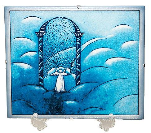 【送料無料】【美品】ARABIA アラビア ヘルヤ 25cm 陶板画 2000年天国の門 雑貨の写真