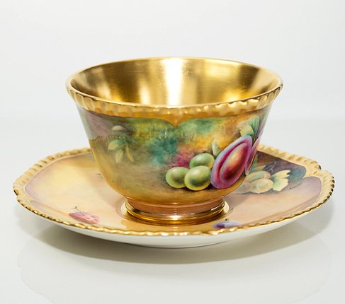 【送料無料】【美品】【最高級】ロイヤルウースター/Royal Worcester ペインテッドフルーツ/Painted Fruits カップ&ソーサーの写真No.4