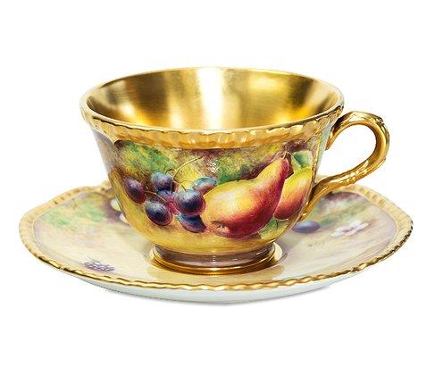 【送料無料】【美品】【最高級】ロイヤルウースター/Royal Worcester ペインテッドフルーツ/Painted Fruits カップ&ソーサーの写真