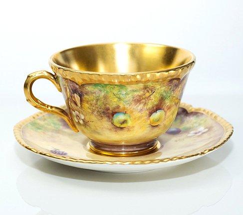 【送料無料】【美品】【最高級】ロイヤルウースター/Royal Worcester ペインテッドフルーツ/Painted Fruits カップ&ソーサーの写真No.2