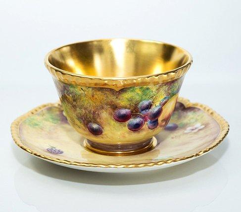 【送料無料】【美品】【最高級】ロイヤルウースター/Royal Worcester ペインテッドフルーツ/Painted Fruits カップ&ソーサーの写真No.3