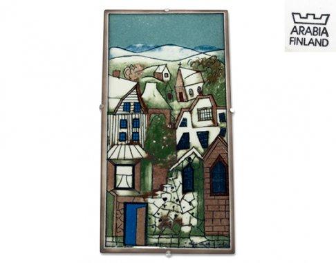 ◇【美品】アラビア/ARABIA Helja Liukko Sundstrom フィンランドの街並み 陶板画 35cm/1995年