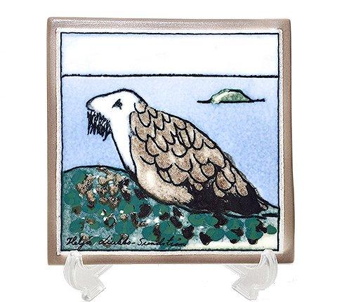 【送料無料】アラビア Helja Liukko Sundstrom ワモンアザラシ 陶板画 12cm/1989年