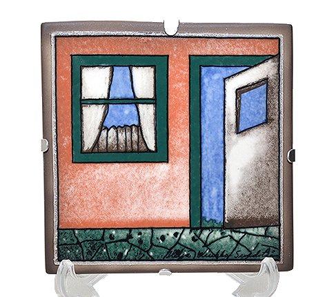 【送料無料】【美品】アラビア×VVO Helja Liukko Sundstrom 歓迎 陶板画 12cm/1996年 ARABIA ヘルヤ