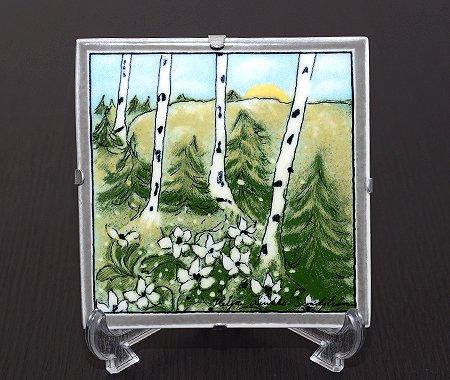 【送料無料】【美品】アラビア Helja Liukko Sundstrom 春の開花 陶板画 12cm 1999年 ARABIA ヘルヤ