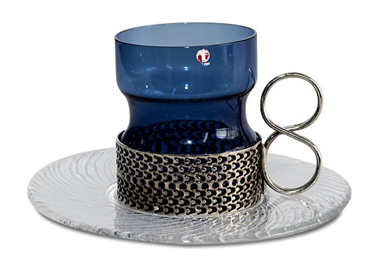 ◇イッタラ ツァイッカ ブルー ホルダー付グラス&ソーサー 210ml iittala Tsaikka