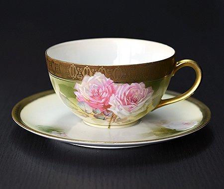 【送料無料】RS Prussia ローズ ティーカップ&ソーサー【アンティーク】【花柄】の写真