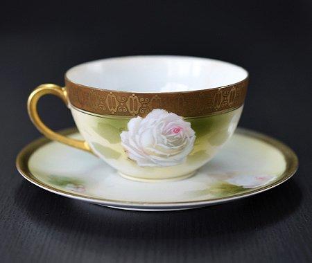 【送料無料】RS Prussia ローズ ティーカップ&ソーサー【アンティーク】【花柄】の写真No.2