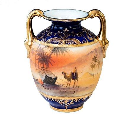 【送料無料】オールドノリタケ マルキ印 10cm マンオンキャメル(金盛藍砂漠風景図) 花瓶(フラワーベース)