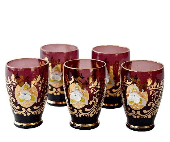 【送料無料】ベネチアンガラス(ムラノガラス) エンボス花文 デキャンタ&ショットグラス 6点セットの写真No.2