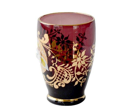 【送料無料】ベネチアンガラス(ムラノガラス) エンボス花文 デキャンタ&ショットグラス 6点セットの写真No.4