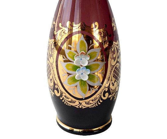 【送料無料】ベネチアンガラス(ムラノガラス) エンボス花文 デキャンタ&ショットグラス 6点セットの写真No.6