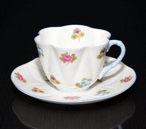 【送料無料】シェリー バラ・パンジー・勿忘草/Rose Pansy Forget-me-not コーヒーカップ&ソーサー ディンティーの写真No.2