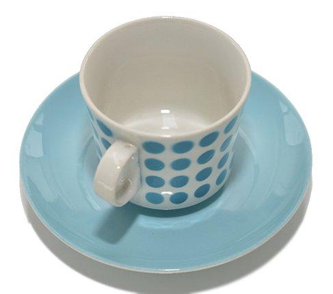 アラビア/ARABIA ステンシル/Stencil ポルカドット/Polca dot スカイブルー/sky blue コーヒーカップ&ソーサー の写真No.3