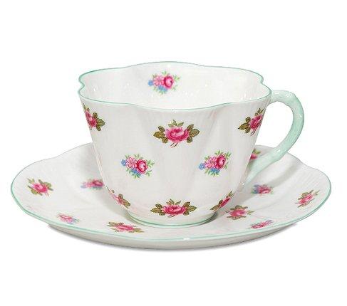 【送料無料】シェリー ローズバッド コーヒーカップ&ソーサー ディンティー No.13426 お花のような 可愛いカップ キュート 兼用カップ の写真