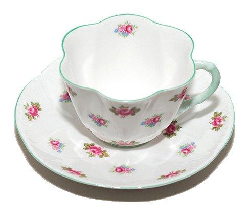 【送料無料】シェリー ローズバッド コーヒーカップ&ソーサー ディンティー No.13426 お花のような 可愛いカップ キュート 兼用カップ の写真No.2