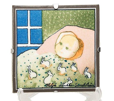 ARABIA アラビア ヘルヤ 12cm陶板画 1996年 赤ちゃん/Baby  アラビア 雑貨 【セール】の写真