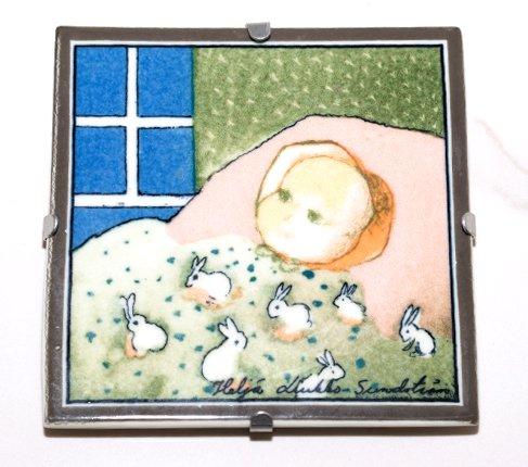 ARABIA アラビア ヘルヤ 12cm陶板画 1996年 赤ちゃん/Baby  アラビア 雑貨 【セール】の写真No.2
