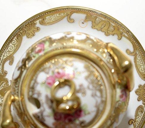 【送料無料】オールドノリタケ メイプル印 金彩点盛り ピンクローズ シュガーポット Old Noritake の写真No.7