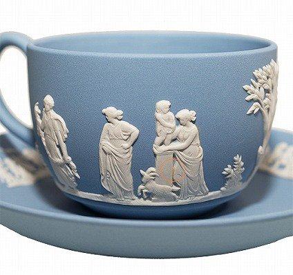 ウェッジウッド ジャスパー ペールブルー ギリシャ神話 カップ&ソーサーWEDGWODD Jasper Pale Blue 廃盤 【セール】の写真No.6
