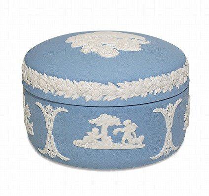 ウェッジウッド ジャスパー ペールブルー 蓋つきボックス   WEDGWOOD 廃盤 食器 ヴィンテージ used の写真No.2